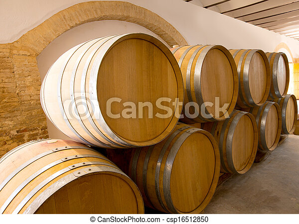 stacked oak barrels. Wine Wooden Oak Barrels Stacked In A Row At Winery - Csp16512850 E