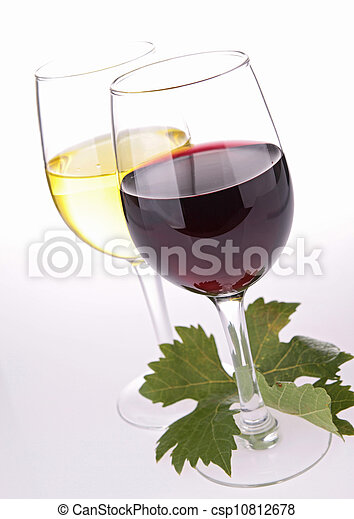 wineglasses and leaf on white - csp10812678