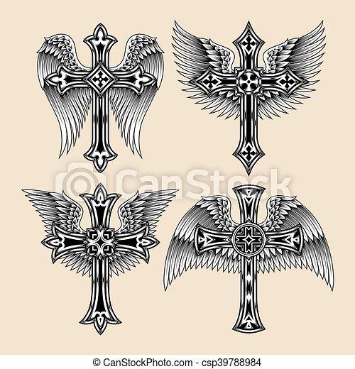 Winged Cross Set - csp39788984
