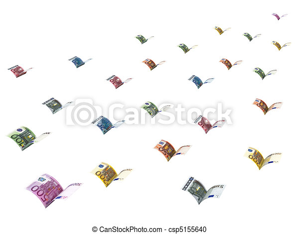Winged euro banknotes are flying away - csp5155640