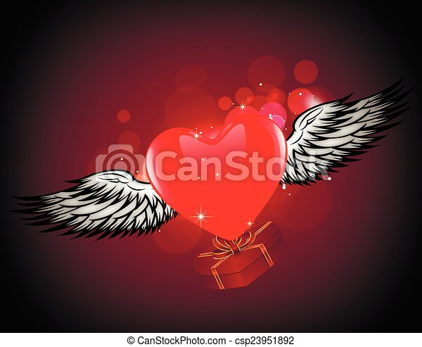 winged heart gift - csp23951892