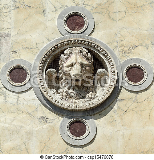 winged lion decoration in Venice - csp15476076
