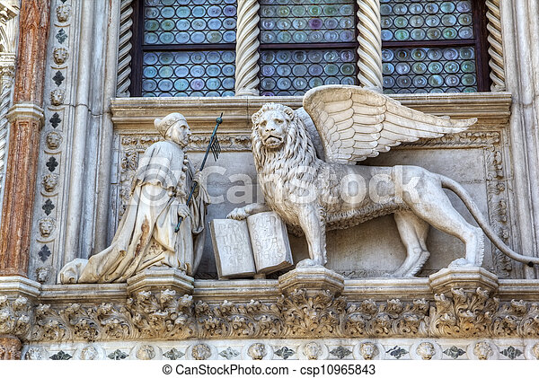 Winged Lion Of St Mark Symbol Of Venice Italy