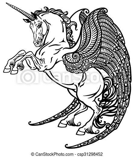 Winged Unicorn Black And White Winged Unicorn Mythological Horse