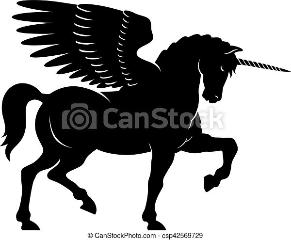 Winged Unicorn Vector Vector Illustration Of A Winged Unicorn In