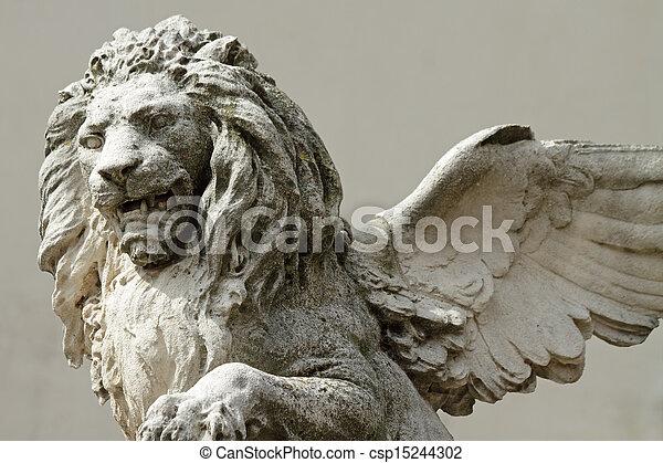 winged venetian lion sculpture  - csp15244302