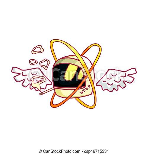 Wings ヘルメット モーターバイク カラフルである イラスト 漫画