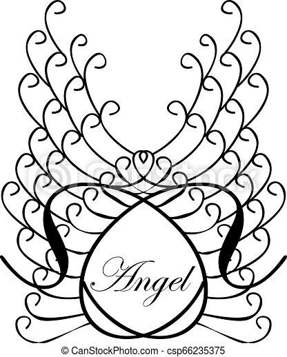 wings., 単語, sketch., 天使, 型, 隔離された, イラスト, ラベル, ベクトル, 背景, lettering. - csp66235375