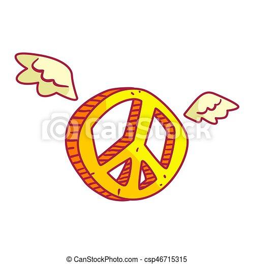 Señal de paz amarilla con alas. Ilustración de dibujos animados de colores - csp46715315
