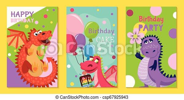 Dragones Bebés Juegos De Cumpleaños O Tarjetas De