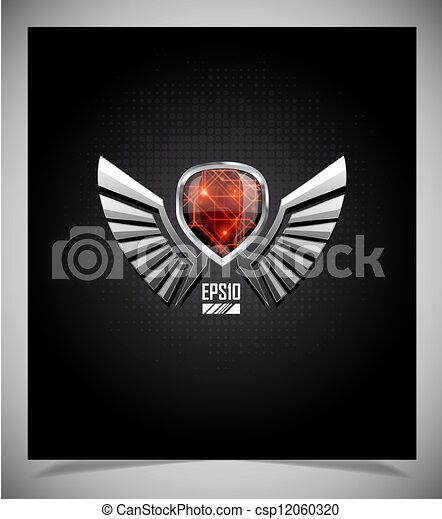 wings., métal, emblème, bouclier - csp12060320