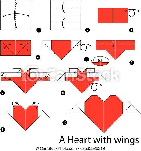 Wings., origami, corazón. Wings., corazón, marca, cómo,... clip art ...