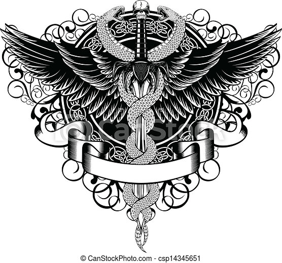 Wings, patterns, fantasy sword and serpents - csp14345651