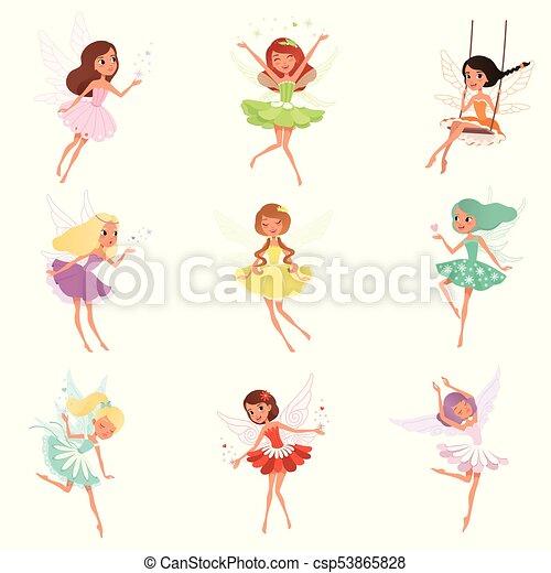 wings., pequeno, adesivo, coloridos, fairies., cartão postal, livro, meninas, mágico, cobrança, ou, cabelo, crianças, vetorial, caráteres, tale., impressão, fada, caricatura, criaturas - csp53865828