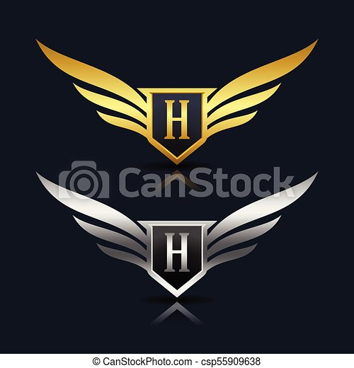 wings shield letter h logo template