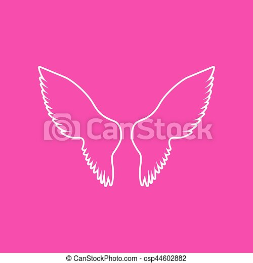 Wings sign illustration. White icon at magenta background. - csp44602882