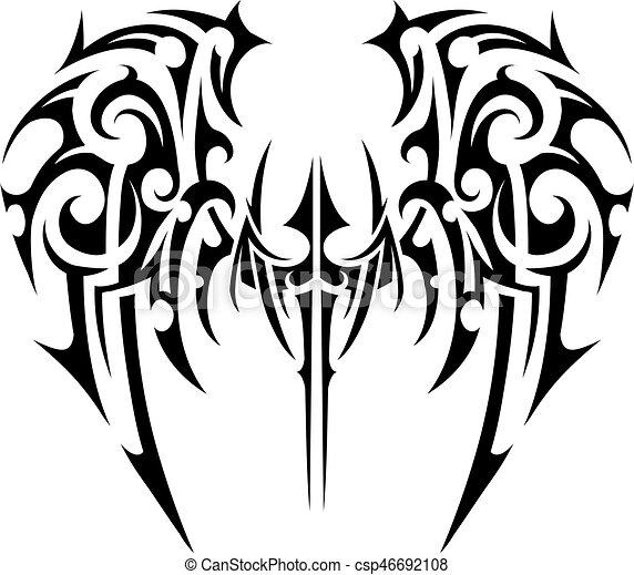 Wings Tattoo Tribal Art Wings Tattoo In Tribal Art Style Angel Wings