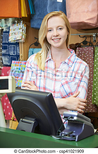 winkel, kassier, omzet, vrouwlijk, bureau - csp41021909