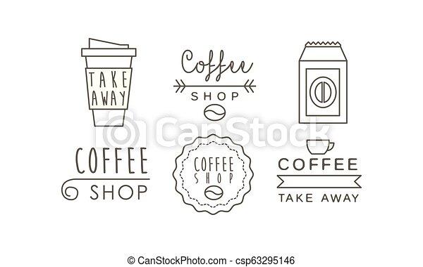 winkel, koffiekop, iconen, set, etiketten, illustratie, vector, achtergrond, takeaway, lijn, witte , kentekens - csp63295146