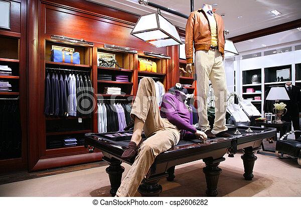 winkel, tafel, mannequins - csp2606282