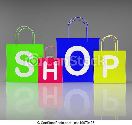 winkel, zakken, shoppen , tonen, detailhandel, aankoop - csp19079438