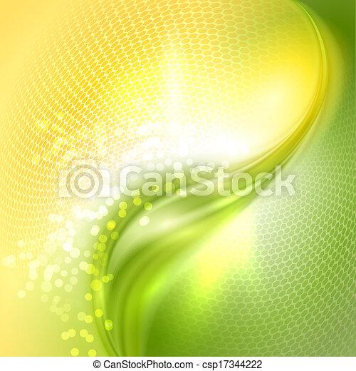winkende , abstrakt, grüner hintergrund, gelber  - csp17344222