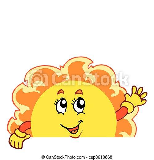 winkende , sonne, glücklich - csp3610868