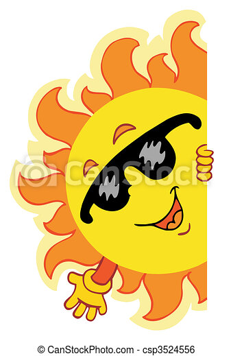 winkende , sonne, karikatur - csp3524556