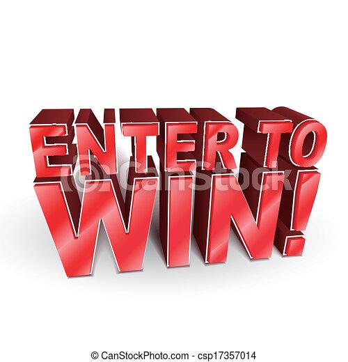 winnen, 3d, woorden, illustratie, binnengaan - csp17357014