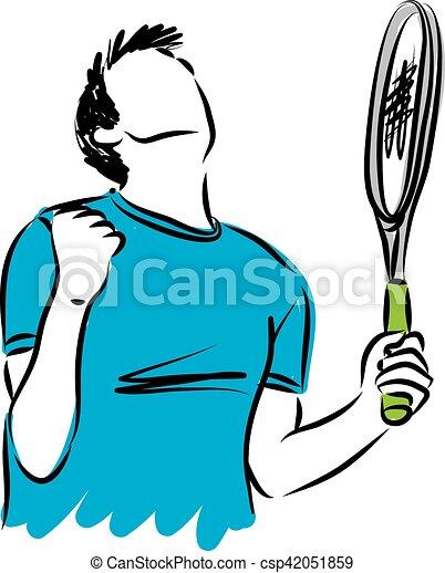 winnen, tennis, gebaar, illustratie, speler - csp42051859