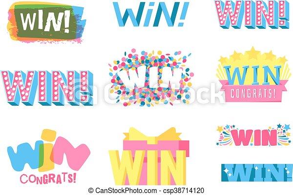 winnen, vector, illustratie, tekst - csp38714120