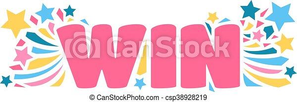 winnen, vector, illustratie, tekst - csp38928219