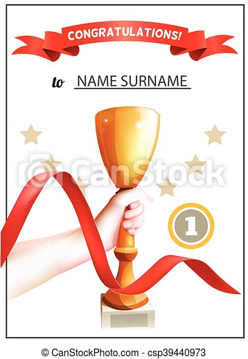 winner certificate with trophy cup and red ribbon diploma for the
