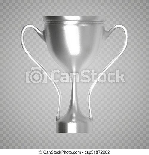 Silver Trophy On Transparent Background Vector Illustration