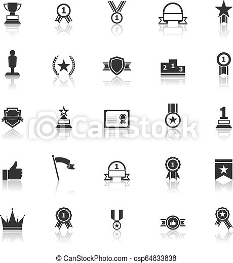 Winner icons with reflect on white background - csp64833838