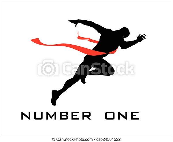 Número uno, meta, ganador. - csp24564522
