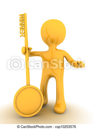 winner person with golden key - csp10253576