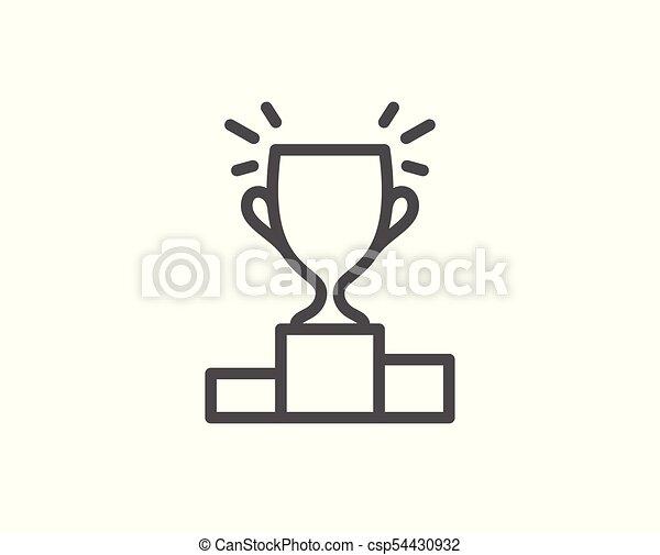 Winner Podium Line Icon Sports Trophy Winner Podium Line