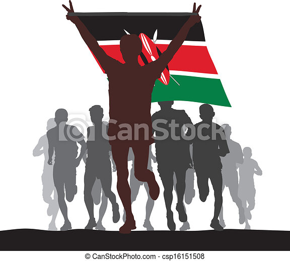 Winner with the Kenya flag - csp16151508