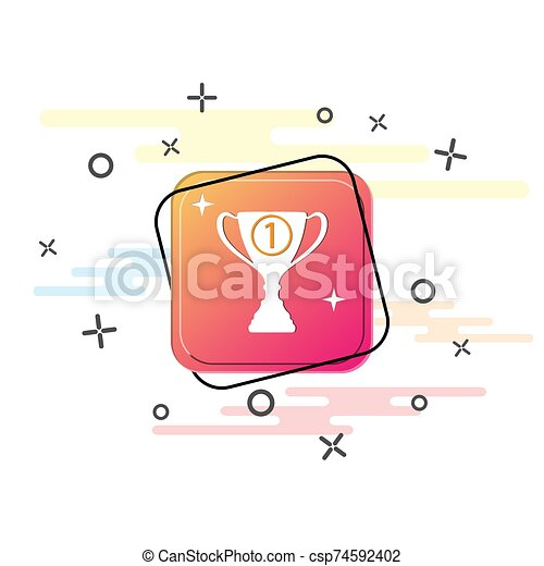 Winner's Cup badge. Purple square button. Flat design - csp74592402