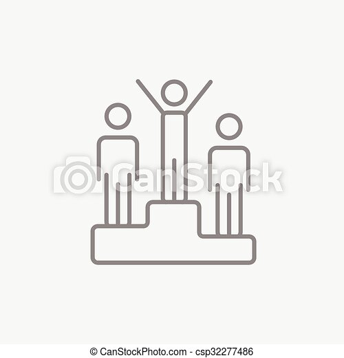 Winners on podium line icon. - csp32277486