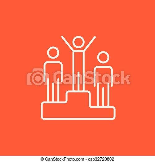 Winners on podium line icon. - csp32720802
