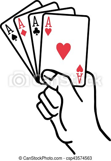 winning hand with four aces playing cards rh canstockphoto com playing cards vector images playing cards vector graphics