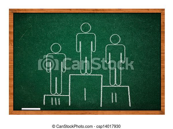 Winning pedestal on green chalkboard - csp14017930