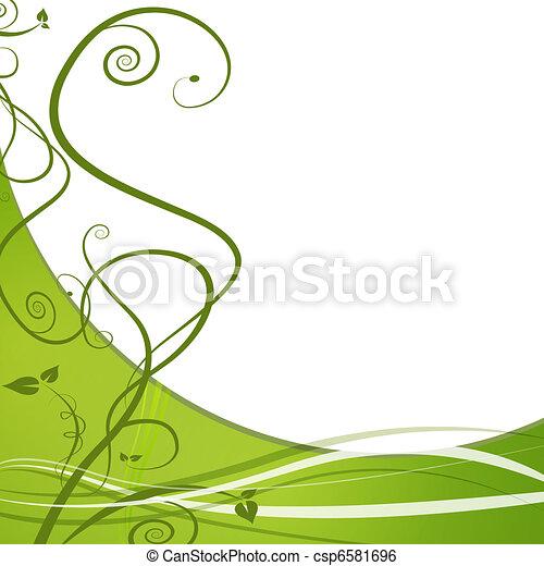 winny liść, zielone tło, natura - csp6581696