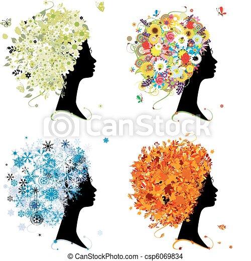 winter., κεφάλι , τέχνη , άνοιξη , φθινόπωρο , - , τέσσερα , σχεδιάζω , γυναίκα , εποχές , δικό σου , καλοκαίρι  - csp6069834