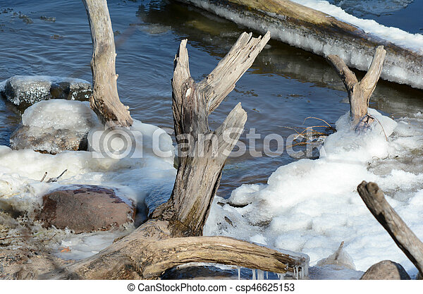 Winter Abstract On Shore Of Mississippi River - csp46625153