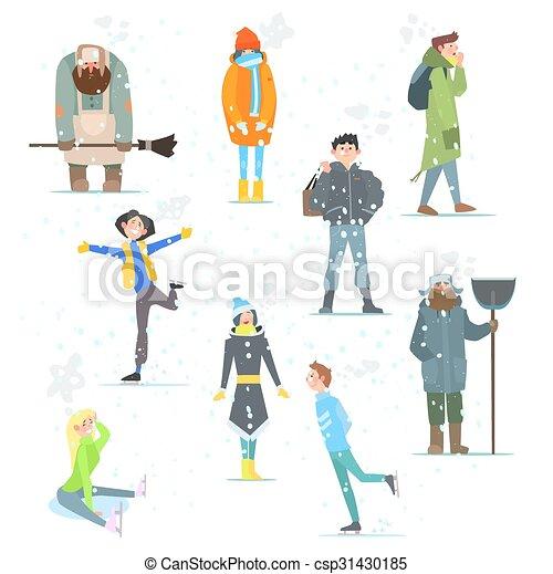 winter., activities., illustration., gente, vector, invierno - csp31430185