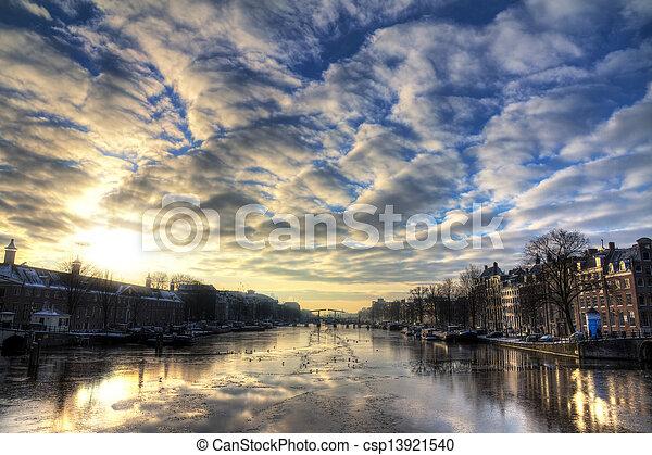 Winter Amstel cloudscape - csp13921540