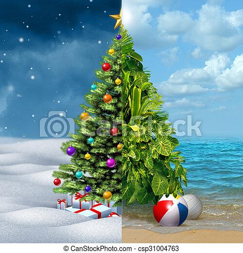 Tropical Christmas.Winter And Tropical Christmas